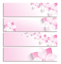 Set of banners with sakura pink template vector image vector image