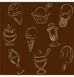 Set of ice creams sketches vector image vector image