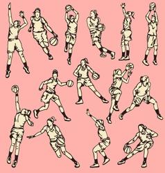 Woman basketball action sport vector