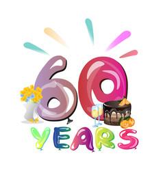 60 years anniversary invitation card vector image