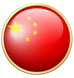china flag on round frame vector image vector image