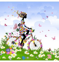 girl on bike outdoors in summer vector image