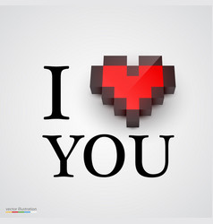 i love you with heart in pixel style vector image vector image