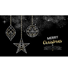 Merry christmas new year decoration outline gold vector image vector image