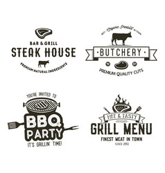 vintage hand drawn steak house logo set bbq party vector image vector image