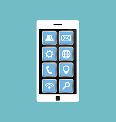 white smartphone with application icons vector image