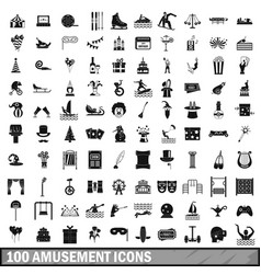 100 amusement icons set simple style vector image