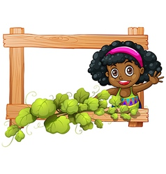A frame with plants and a Black girl waving vector image
