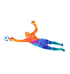 abstract football goalkeeper is jumping for the vector image