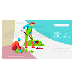 Agriculture and farming landing page template vector