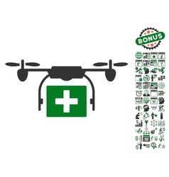 Ambulance Drone Icon With Bonus vector