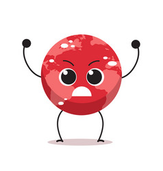Angry red earth character cartoon mascot globe vector