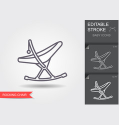 Baby rocking chair line icon with editable stroke vector
