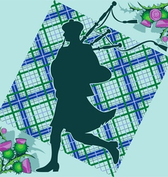 bagpiper and thistle vector image