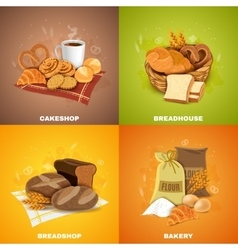 Bakery Breadshop 4 Flat Icons Square vector image