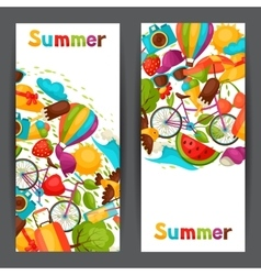 Banners with stylized summer objects Design for vector image