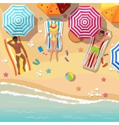 Beach top view background with sunbathers men and vector