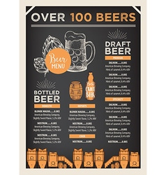 Beer restaurant cafe menu template design vector image