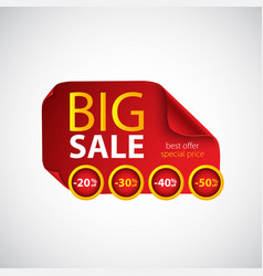 big sale red paper with curved corners vector image