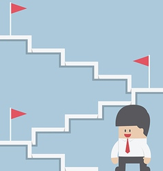 businessman climbing on stairway to target vector image