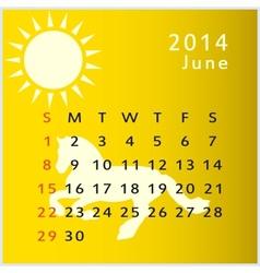 calendar 2014 june vector image