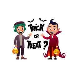 cartoon children monster and vampire costume vector image