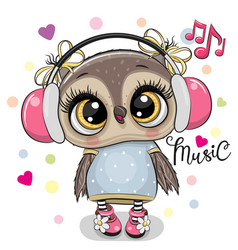 cartoon owl girl with headphones on a white vector image