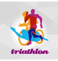 Color flat logo triathlon figures vector
