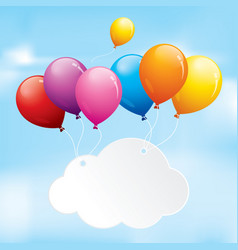 Colourful balloons floating in a cloudy sky vector
