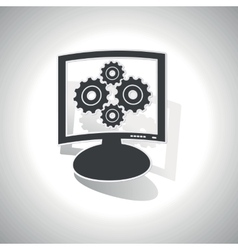 Curved cogs monitor icon vector