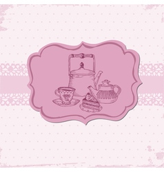 Cute Card with Cake and Teapots vector image vector image