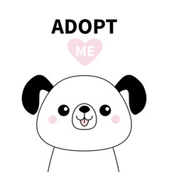 Cute dog face line silhouette adopt me pink heart vector
