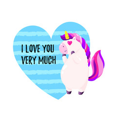 cute greeting card with unicorn template vector image