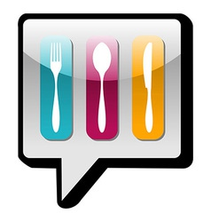 Cutlery icons social network bubble vector