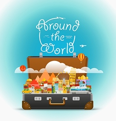 Dirrefent world famous sights travel Aroun vector image