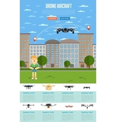 Drone aircraft template with flying robot vector image