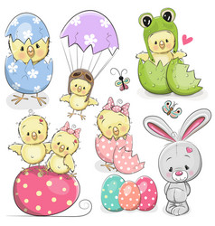 Easter set with cute chicken vector