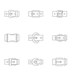 Elegance belt buckle icon set outline style vector