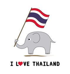 Elephant hold Thai flag1 vector image