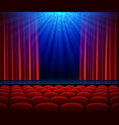 Empty theater stage with red opening curtain vector