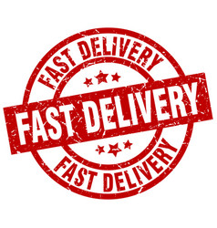 Fast delivery round red grunge stamp vector
