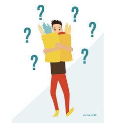 finding solution young man with a product package vector image