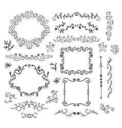 floral decor set hand drawn vintage vector image