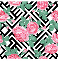 Floral seamless pattern pink roses with leaves on vector