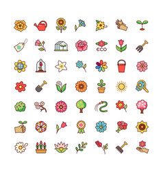 Flowers icons set vector