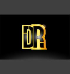 Gold black alphabet letter dr d r logo vector