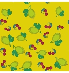 Gooseberry and cherry cartoon seamless texture 650 vector