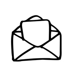 hand drawn mail symbol doodle icon vector image