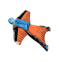 hand drawn sketch of wingsuit in color isolated vector image