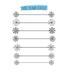 hand drawn snowflakes divider design vector image